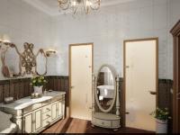 Ванная комната с дверями в туалет и душевую