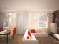 Гостиная, столовая зона и зона отдыха